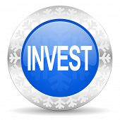 invest blue icon, christmas button