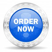 order now blue icon, christmas button
