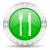 eat green icon, christmas button, restaurant sign