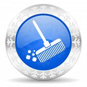 broom blue icon, christmas button, clean sign