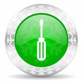 tools green icon, christmas button, service sign