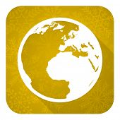 earth flat icon, gold christmas button, world sign