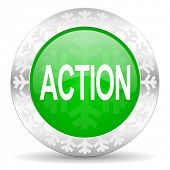 action green icon, christmas button