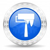 brush blue icon, christmas button, paint sign
