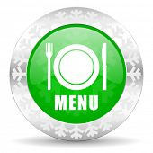menu green icon, christmas button, restaurant sign