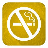 no smoking flat icon, gold christmas button