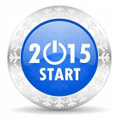 new year 2015 blue icon, christmas button, new years symbol