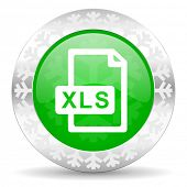 xls file green icon, christmas button