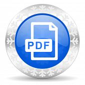 pdf file blue icon, christmas button