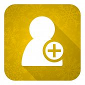 add contact flat icon, gold christmas button