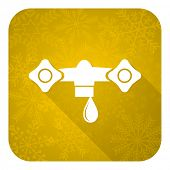 water flat icon, gold christmas button, hydraulics sign