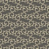 Vintage beige swirls vector wallpaper pattern.