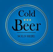 Cold Beer Sign with Gold and Blue