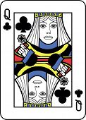 Stylized Queen of Clubs with strong outline