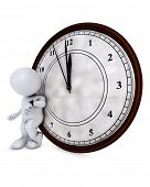 3D Render of Morph Man with clock before midnight