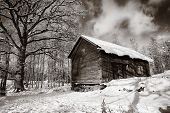 old wooden barn, cottage, winter and snow scenery