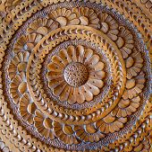 An artistic carved floral pattern in wood of an islamic arabic nature