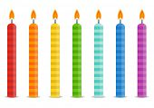 Set of color Birthday candles in bright colors