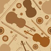 Musical seamless pattern with musical instrument violin, bow and speakers.