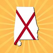 Alabama map flag on sunburst illustration