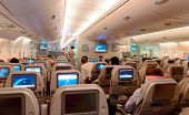 DUBAI - JUNE 04: Airbus A380 interior on June 04, 2014 in Dubai, UAE. Emirates handles major part of passenger traffic and aircraft movements at the airport.