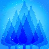 Abstract fir tree forest blue backdrop