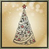 vintage hand drawn christmas tree
