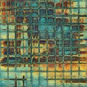 Antique vintage texture, old-fashioned weathered background. With different color patterns: blue; orange; brown; yellow