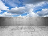 Abstract Concrete 3D Interior With Cloudy Sky