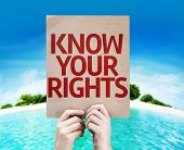stock photo of human rights  - Know Your Rights card with a beach on background - JPG