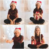 christmas, x-mas, winter, happiness concept - smiling girl with gift boxes and sparkler