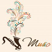 Stylish text of Music with floral design coming out from saxophone on beige background.
