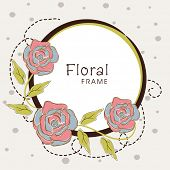 Beautiful floral frame decorated with vintage roses on white background.