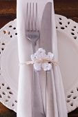 Christmas Decoration: White Plate Serviette Fork Knife With  White Crochet Snowflake
