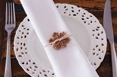 Christmas Decoration: White Plate Serviette Fork Knife With  Brown Crochet Snowflake