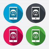 Selfie smile face sign icon. Self photo symbol.
