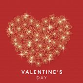 Happy Valentine's Day celebration greeting card with beautiful heart made by shiny golden flowers on red background.