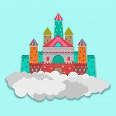 Colorful royal castle on clouds for fairy tales concept on sky blue background.