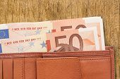 ������, ������: leather wallet with money