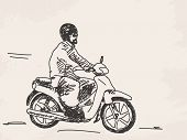 Sketch of man riding scooter Hand drawn vector illustration