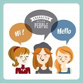 Three young lady with speech bubbles