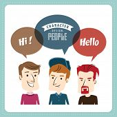 Three young men with speech bubbles