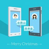 Christmas Greeting Card. Thin Line Icons On The Smartphone's Screen. Vector Illustration In Flat Des