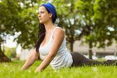 Smiling brunette doing yoga on grass in the park