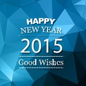 vector new year background with good wishes with triangle blue shades design