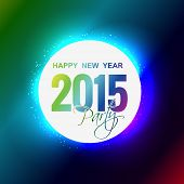 colorful shiny glowing 2015 new year party theme design with small circles