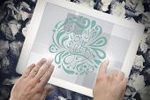Elegant happy new year against hands touching tablet screen