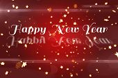 Happy new Year against bright star pattern on red