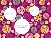 Vector abstract textured bubbles Christmas ornaments silhouettes pattern frame card template