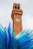 Famous tower with a glass sculpture at Murano island